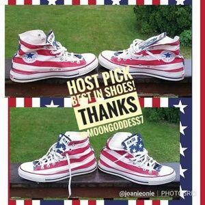 VINTAGE American Flag Chuck Taylor Hi Tops